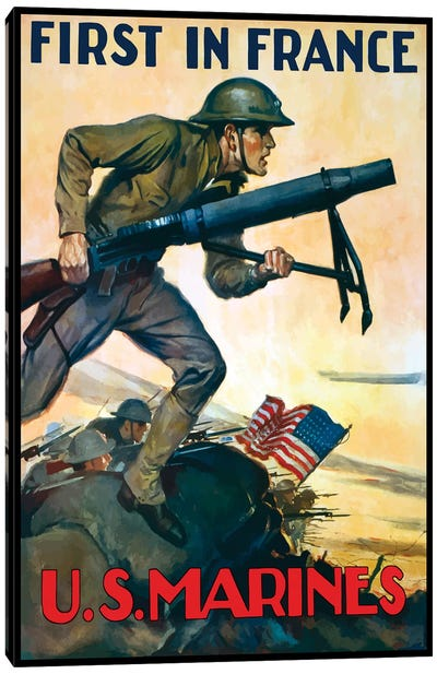 WWI Poster Of Marines Charging Into Battle Behind The American Flag Canvas Art Print