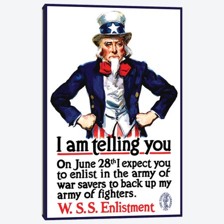 WWI Poster Of Uncle Sam Standing With His Hands On His Hips Canvas Print #TRK133} by John Parrot Canvas Print