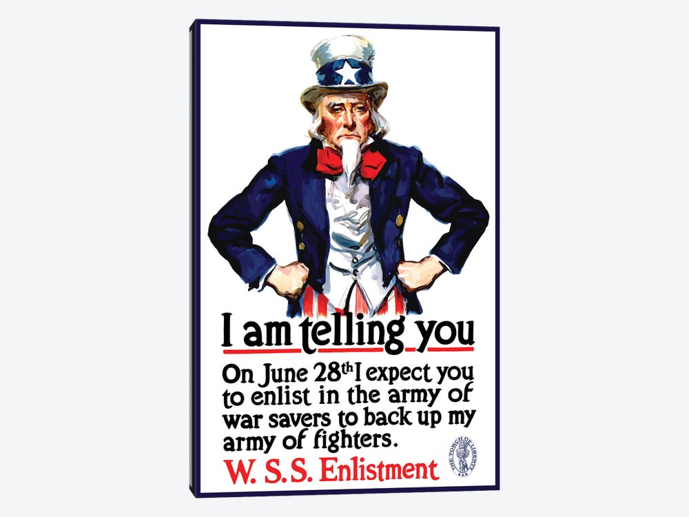 WWI Poster Of Uncle Sam Standing With His Hands On His Hips by John Parrot 1-piece Canvas Artwork