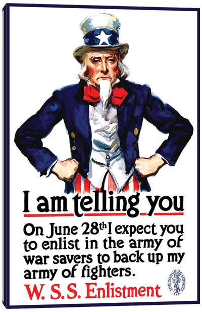 WWI Poster Of Uncle Sam Standing With His Hands On His Hips Canvas Art Print