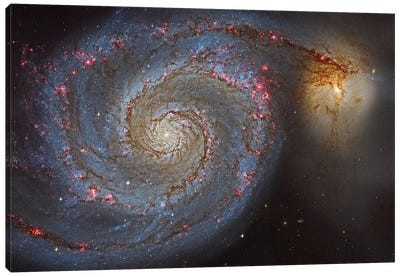 The Whirlpool Galaxy (NGC 5194) And Its Companion (NGC 5195) Canvas Art Print