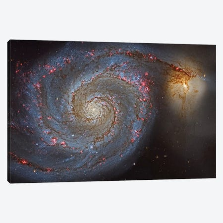 The Whirlpool Galaxy (NGC 5194) And Its Companion (NGC 5195) 3-Piece Canvas #TRK1344} by Roberto Colombari Canvas Artwork