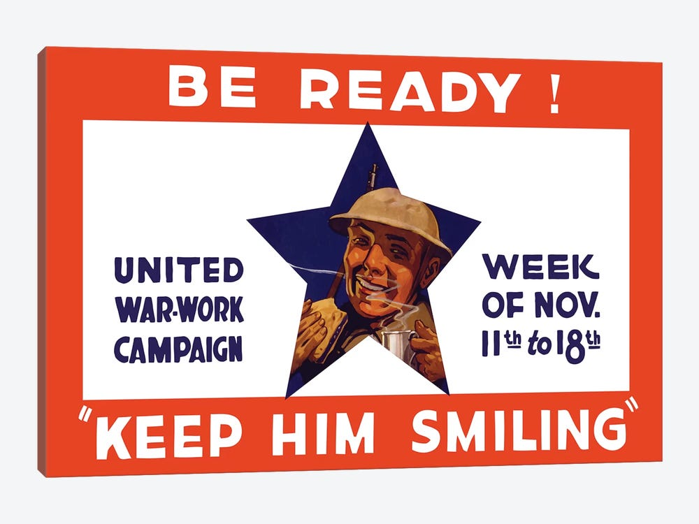 WWI Propaganda Poster For The United War Work Campaign by John Parrot 1-piece Canvas Art Print