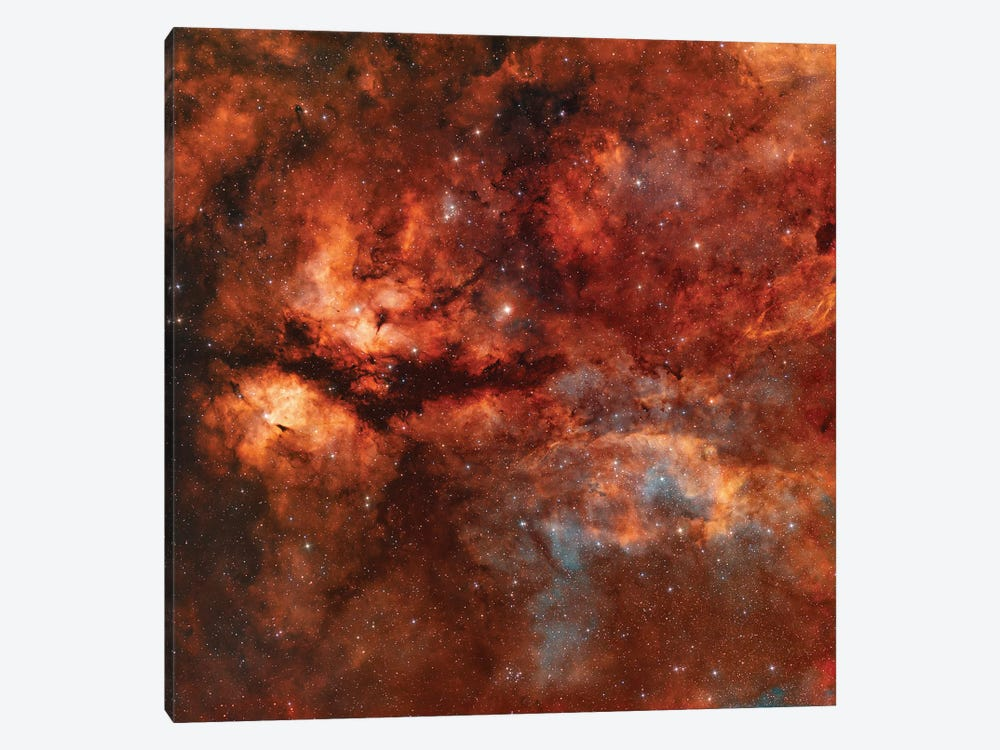 The Butterfly Nebula (IC 1318) Around Star Gamma-Cygni by Rolf Geissinger 1-piece Canvas Art Print