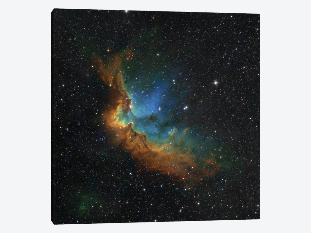 The Wizard Nebula (NGC 7380) In Hubble-Palette Colors by Rolf Geissinger 1-piece Canvas Print