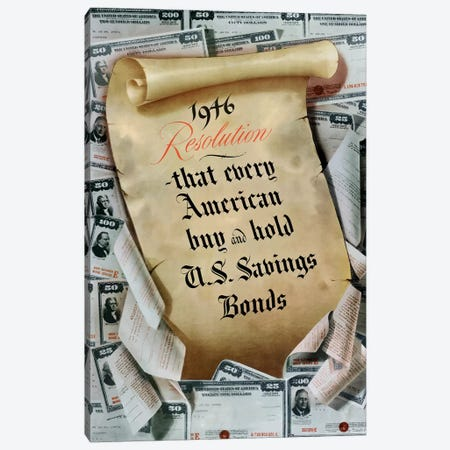 WWII Poster 1946 Resolution, US Savings Bonds Canvas Print #TRK136} by John Parrot Canvas Art
