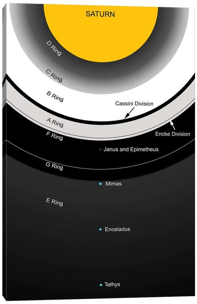 A Diagram Showing The Major Features Of Saturn's Rings Canvas Art Print