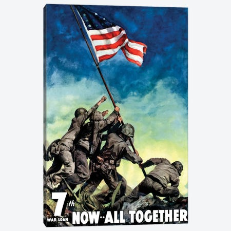 WWII Poster 7th War Loan, Now All Together Canvas Print #TRK137} by John Parrot Canvas Art