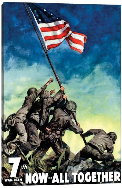 WWII Poster 7th War Loan, Now All Together Canvas Art Print