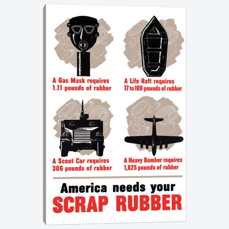 WWII Poster America Needs Your Scrap Rubber Canvas Print #TRK138} by John Parrot Art Print