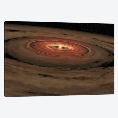 A Brown Dwarf Surrounded By A Swirling Disk Of Planet-Building Dust Canvas Print #TRK1390} by Stocktrek Images Canvas Wall Art