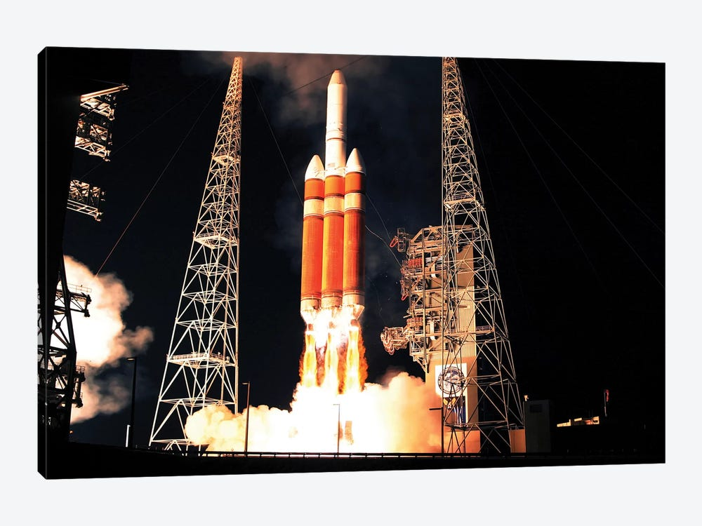 A Delta IV Heavy Rocket Lifts Off by Stocktrek Images 1-piece Art Print