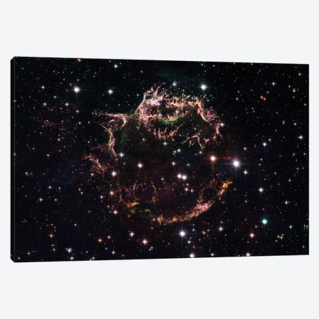 A Detailed View Of The Tattered Remains Of A Supernova Explosion Known As Cassiopeia A Canvas Print #TRK1392} by Stocktrek Images Canvas Wall Art