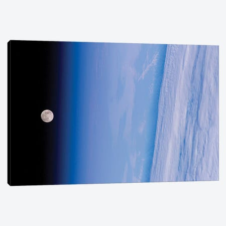 A Full Moon Above Earth's Horizon And Airglow Canvas Print #TRK1393} by Stocktrek Images Canvas Wall Art