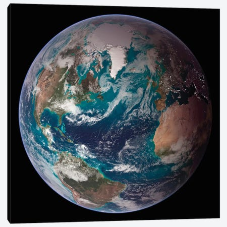 A Full View Of Earth Showing Global Data For Land Surface, Polar Sea Ice, And Chlorophyll Canvas Print #TRK1394} by Stocktrek Images Art Print