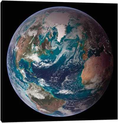 A Full View Of Earth Showing Global Data For Land Surface, Polar Sea Ice, And Chlorophyll Canvas Art Print
