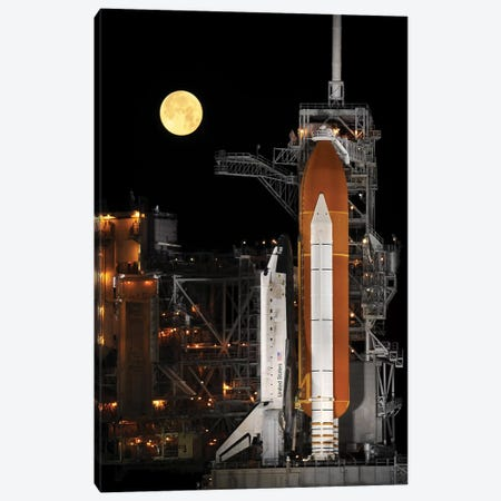 A Nearly Full Moon Sets As Space Shuttle Discovery Sits Atop The Launch Pad Canvas Print #TRK1399} by Stocktrek Images Canvas Art