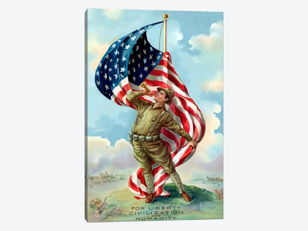For Liberty, Civilization, And Humanity Vintage War Poster by John Parrot 1-piece Art Print