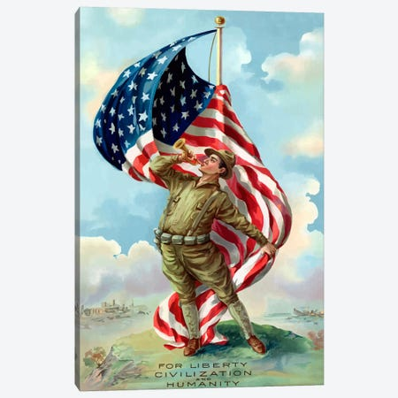 For Liberty, Civilization, And Humanity Vintage War Poster Canvas Print #TRK13} by John Parrot Art Print