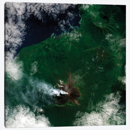 A Small Plume Rises From The Summit Of Ulawun Volcano On Papua New Guinea's Island Of New Britain Canvas Print #TRK1405} by Stocktrek Images Art Print