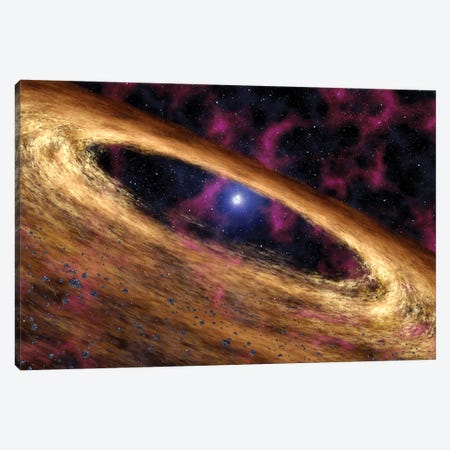 A Type Of Dead Star Called A Pulsar And The Surrounding Disk Of Rubble Canvas Print #TRK1410} by Stocktrek Images Art Print
