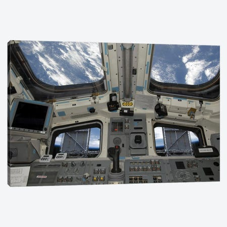 A View From Inside The Flight Deck Of Space Shuttle Atlantis Canvas Print #TRK1411} by Stocktrek Images Canvas Art Print