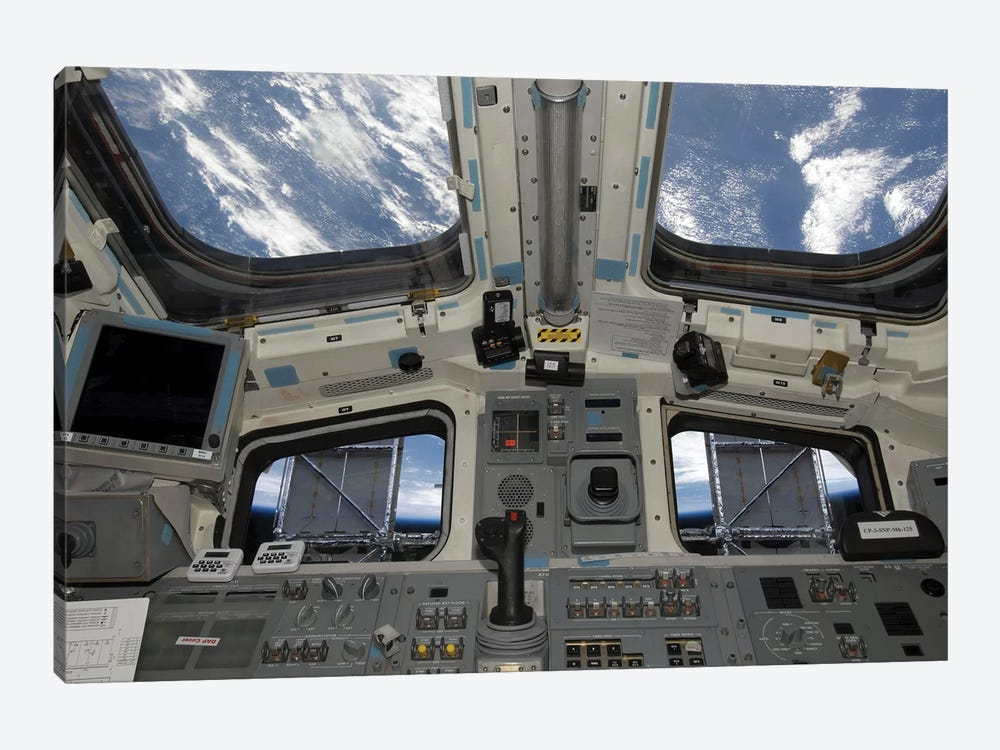 A View From Inside The Flight Deck Of Space Shuttle Atlantis by Stocktrek Images 1-piece Canvas Wall Art
