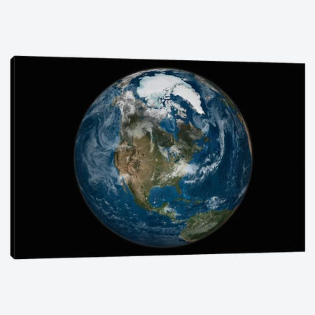 A View Of The Earth With The Full Arctic Region Visible Canvas Print #TRK1413} by Stocktrek Images Canvas Art Print