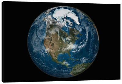 A View Of The Earth With The Full Arctic Region Visible Canvas Art Print