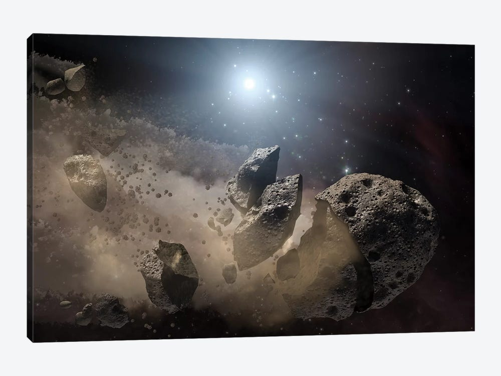 A White Dwarf Star Surrounded By A Disintegrating Asteroid by Stocktrek Images 1-piece Canvas Art Print