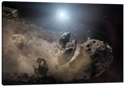 A White Dwarf Star Surrounded By A Disintegrating Asteroid Canvas Art Print