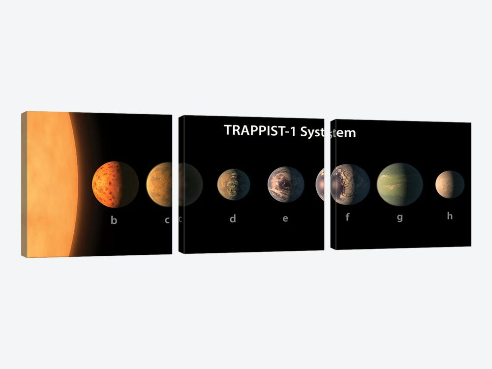 An Artist's Illustration Of What TRAPPIST-1's Seven Planets Might Look Like by Stocktrek Images 3-piece Canvas Art