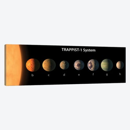An Artist's Illustration Of What TRAPPIST-1's Seven Planets Might Look Like Canvas Print #TRK1417} by Stocktrek Images Canvas Wall Art