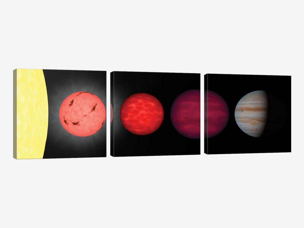 An Artist's Rendition Comparing Brown Dwarfs To Stars And Planets by Stocktrek Images 3-piece Canvas Art Print