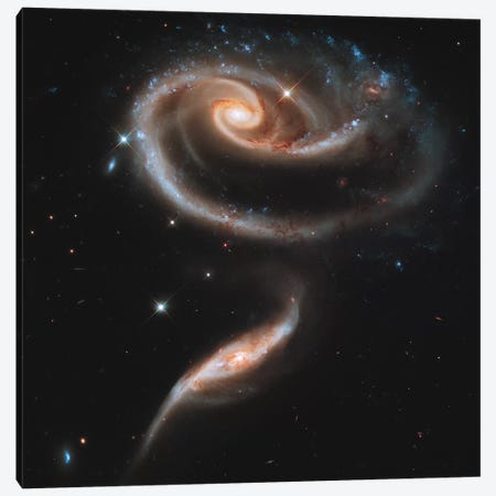 Arp 273 Interacting Galaxies In Andromeda Canvas Print #TRK1429} by Stocktrek Images Canvas Art