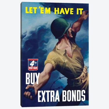 WWII Poster Buy Extra Bonds Canvas Print #TRK142} by John Parrot Canvas Artwork