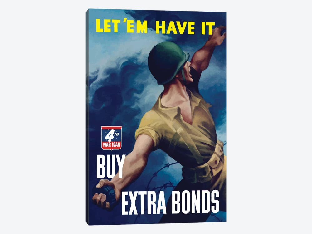 WWII Poster Buy Extra Bonds by John Parrot 1-piece Canvas Art