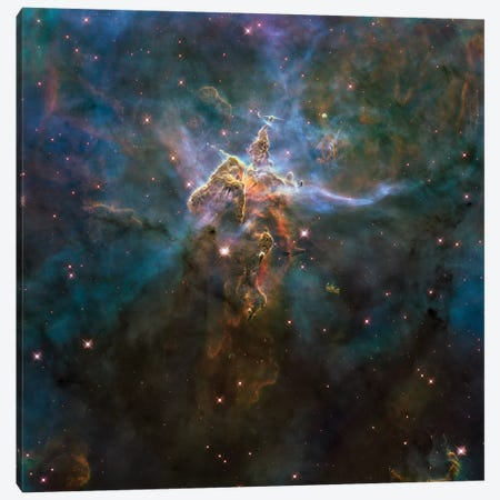 Carina Nebula Star-Forming Pillars And Herbig-Haro Objects With Jets Canvas Print #TRK1437} by Stocktrek Images Canvas Art