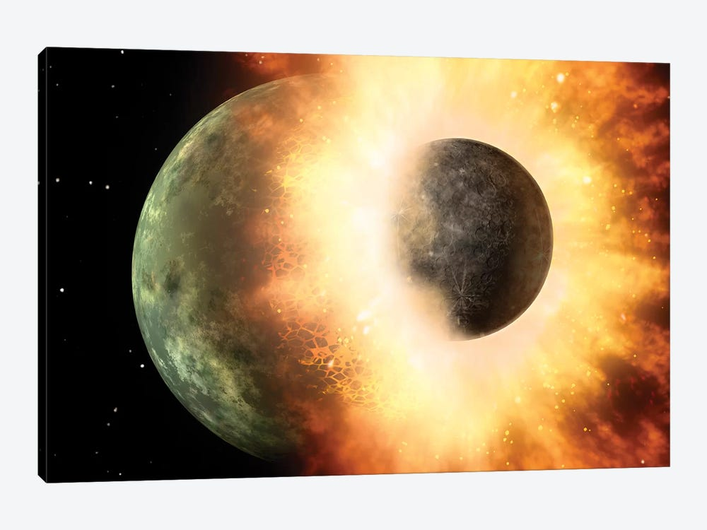 Celestial Body Colliding Into A Planet Sized Body by Stocktrek Images 1-piece Canvas Print