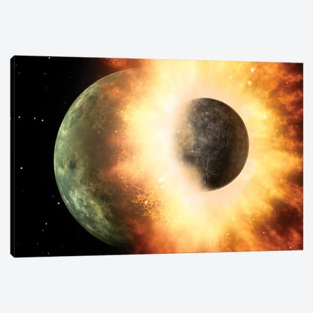 Celestial Body Colliding Into A Planet Sized Body 3-Piece Canvas #TRK1438} by Stocktrek Images Canvas Print