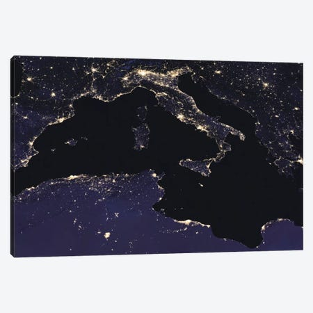City Lights Of Italy As Seen From Space Canvas Print #TRK1439} by Stocktrek Images Art Print