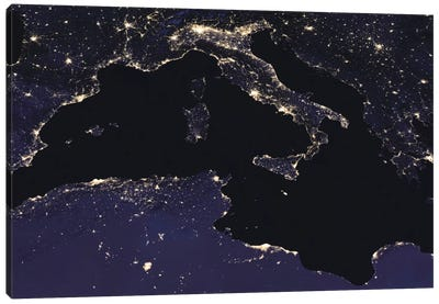City Lights Of Italy As Seen From Space Canvas Art Print