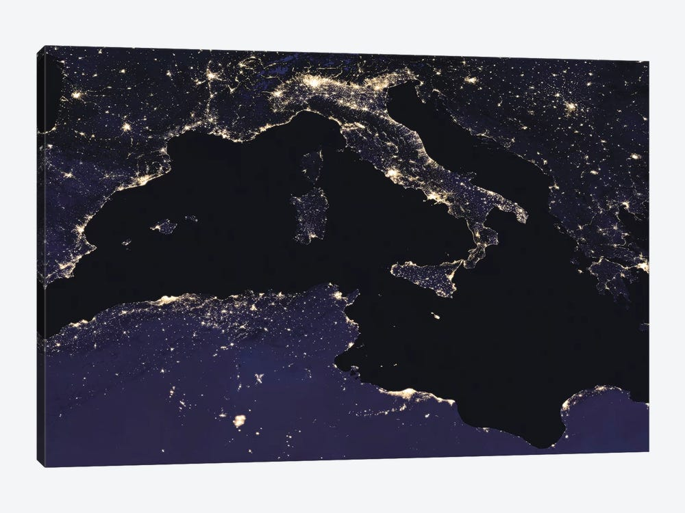 City Lights Of Italy As Seen From Space by Stocktrek Images 1-piece Canvas Art