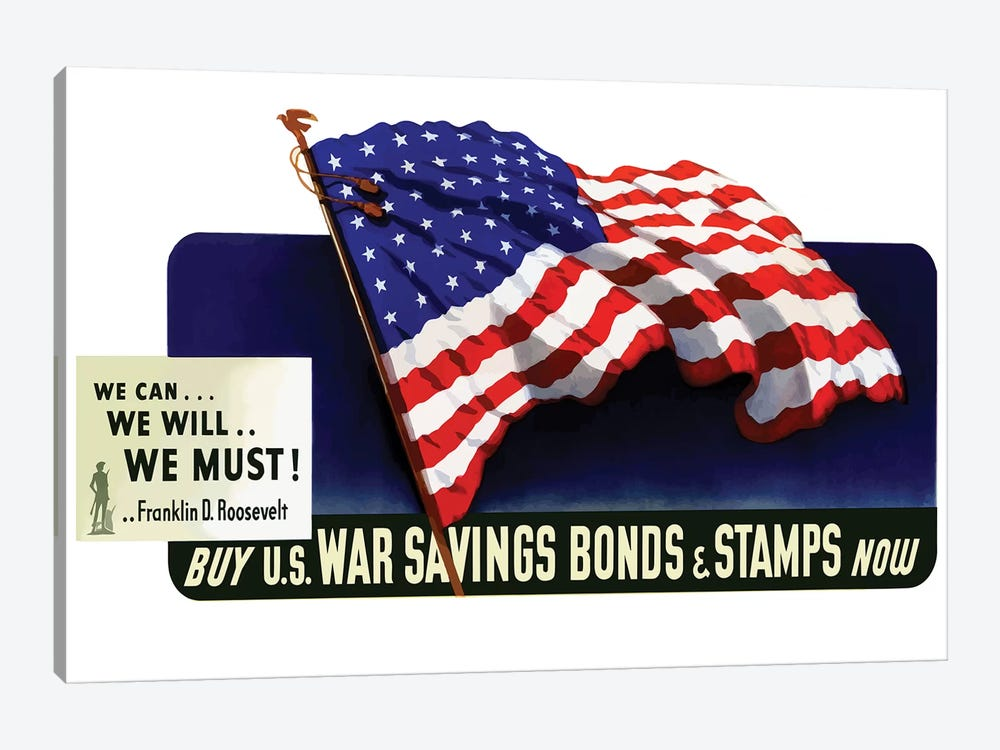 WWII Poster Buy US War Savings Bonds & Stamps Now by John Parrot 1-piece Canvas Print