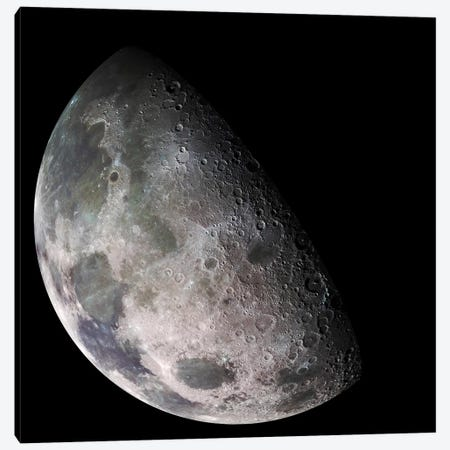 Color Mosaic Of The Earth's Moon Canvas Print #TRK1443} by Stocktrek Images Canvas Artwork