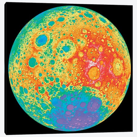 Color Shaded Relief Of The Lunar Farside Canvas Print #TRK1444} by Stocktrek Images Canvas Print