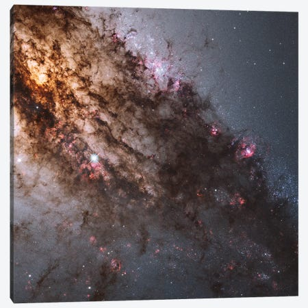 Dark Lanes Of Dust Crisscross The Elliptical Galaxy Centaurus A Canvas Print #TRK1447} by Stocktrek Images Canvas Print