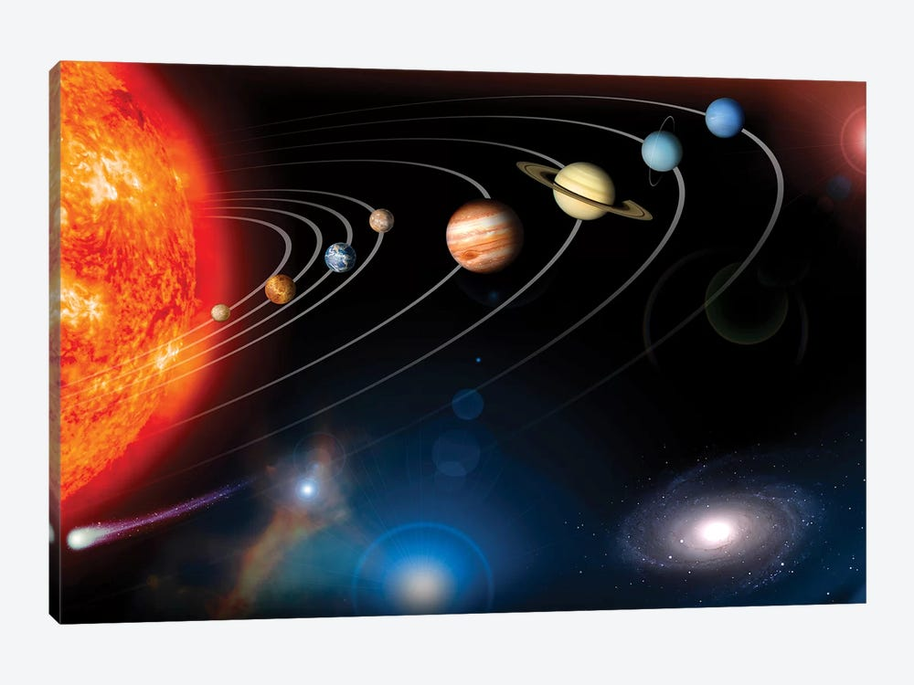 Digitally Generated Image Of Our Solar System And Points Beyond by Stocktrek Images 1-piece Art Print