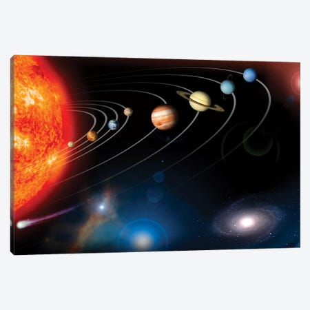 Digitally Generated Image Of Our Solar System And Points Beyond Canvas Print #TRK1452} by Stocktrek Images Canvas Print