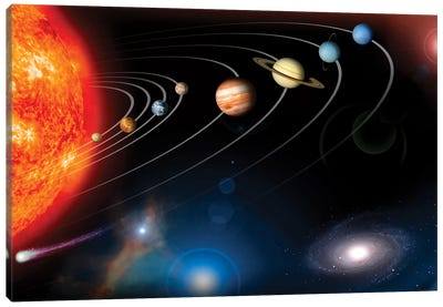Digitally Generated Image Of Our Solar System And Points Beyond Canvas Art Print
